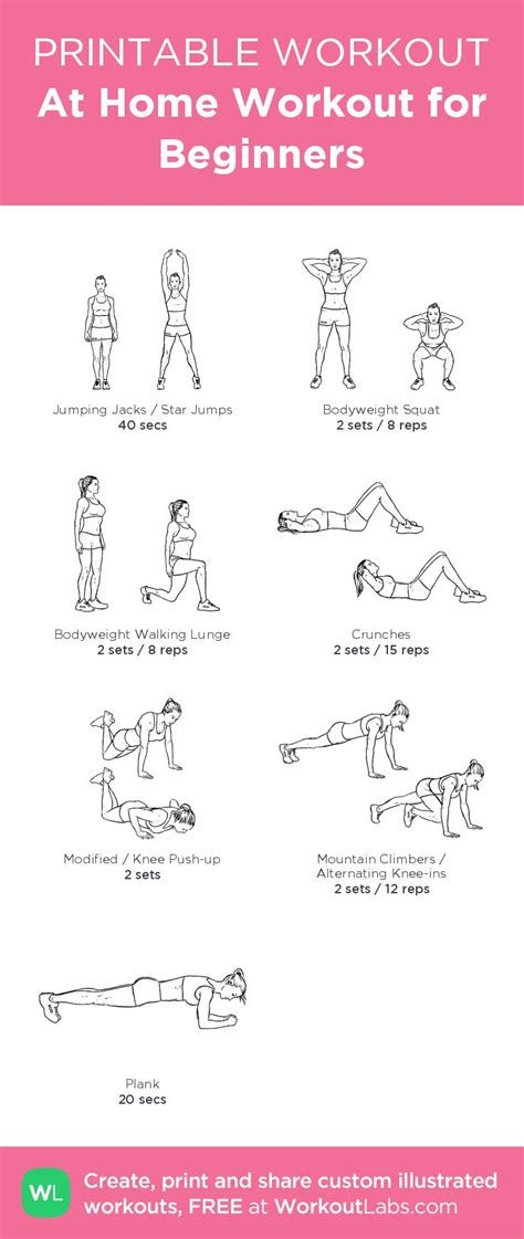 printable exercise program for beginners at home workout for beginners my custom exercise plan