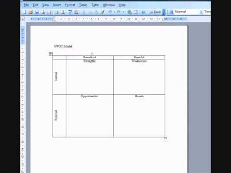 example swot analysis created using ms word and swot