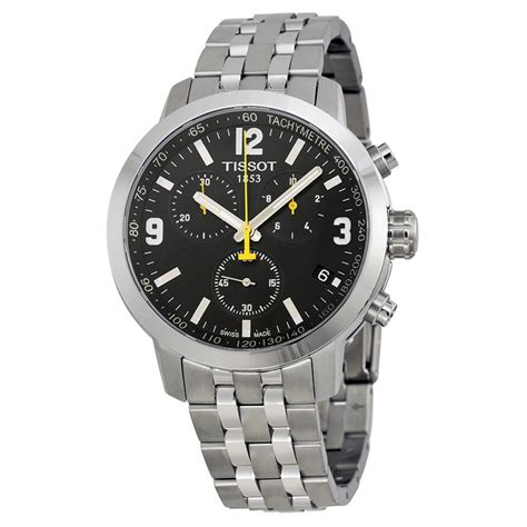 tissot prc 200 chronograph black stainless steel