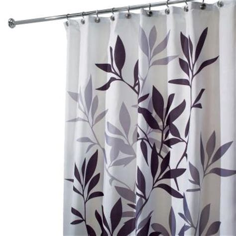 black and gray shower curtain interdesign leaves shower curtain in black and gray 35620