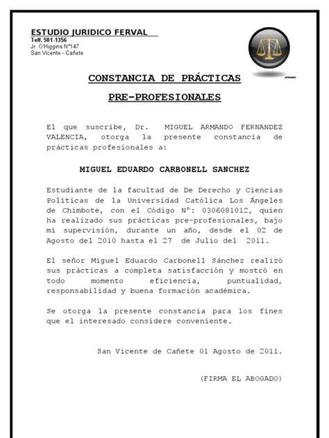 Modelo Curriculum Vitae Practicas Pre Profesionales Constancia De Practica Preprofesional