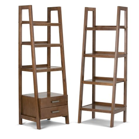 Ladder Bookcases Simpli Home Sawhorse Solid Wood Ladder Shelf Bookcase Medium Saddle Brown Kitchen