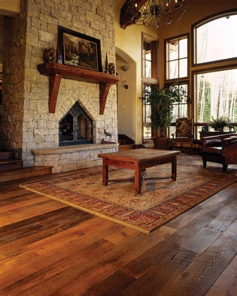 Hardwood Floor Living Room Mountain Home Great Room Reclaimed Oak Floor Traditional Family Room New York By Pioneer