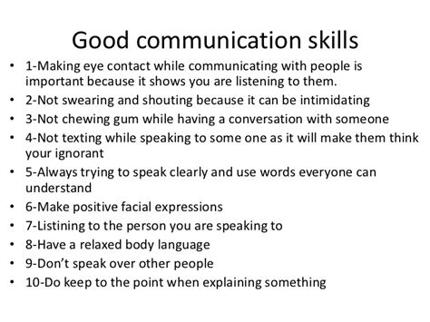 good communication skills good communication skills 1 making eye contact while
