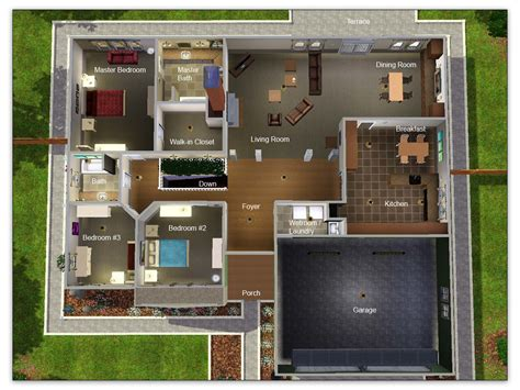 mod the sims artisim bungalow plan 01 modest high style