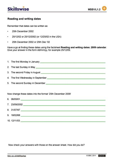 Le Calendrier Worksheet Reading And Writing Dates