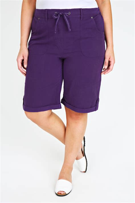 Hotpants 5 Button Size 27 30 purple cool cotton roll up shorts with tab button detail plus size 14 16 18 20 22 24 26 28 30 32