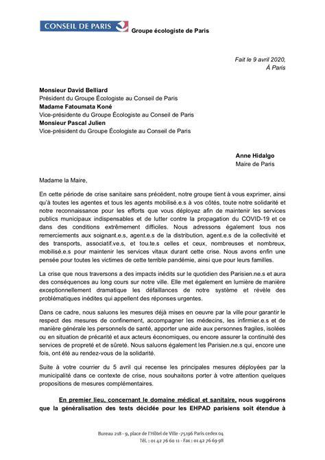 Courrier à Anne Hidalgo, Maire de Paris – Lutte contre le