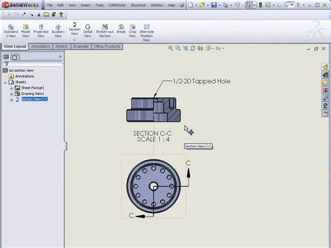 solidworks section view solidworks isometric section views youtube