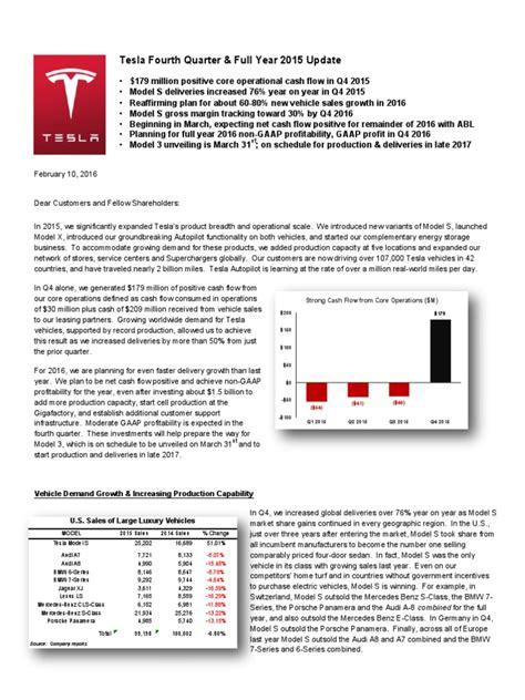 Tesla Stock Options For Employees Tesla Motors Q4 2015 Earnings Letter Tesla Model S