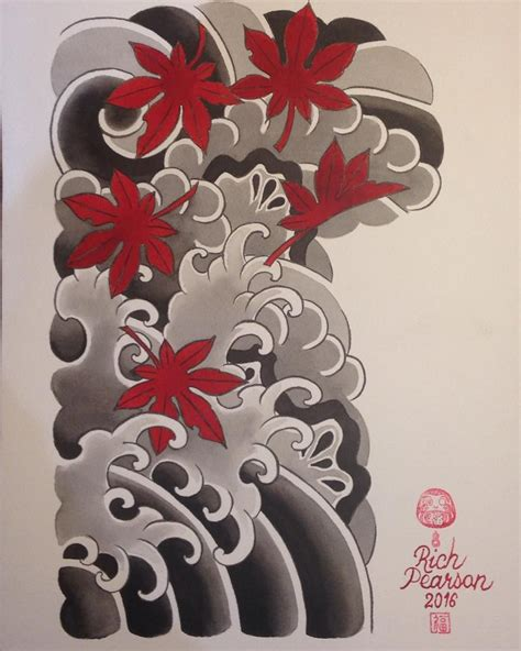 japanese cloud tattoo designs maples clouds rocks and water half sleeve painting i
