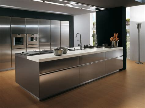 Contemporary Kitchen Furniture Contemporary Stainless Steel Kitchen Cabinets Elektra Plain Steel By Ernestomeda Digsdigs