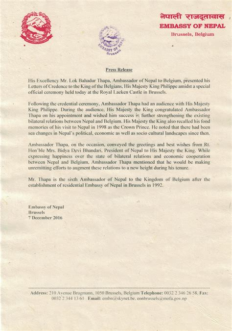 Nepal Embassy Letter press release issued by the embassy of nepal brussels on