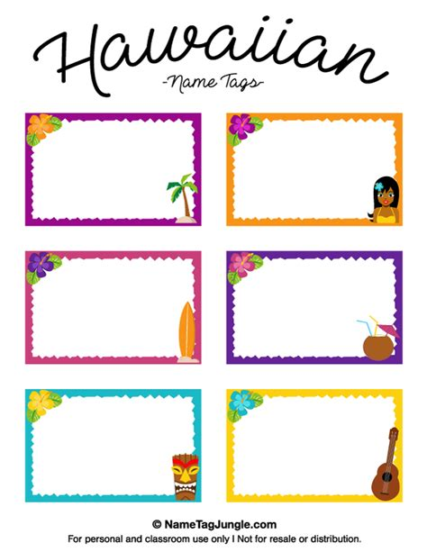 name labels template free printable hawaiian name tags the template can also