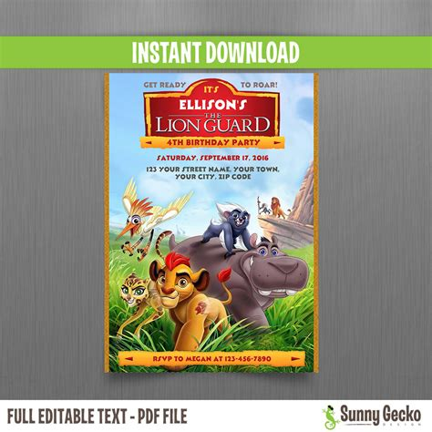 The Lion Guard Birthday Invitation Instant Download Edit And Print At Home With Adobe Reader Free Guard Invitation Template