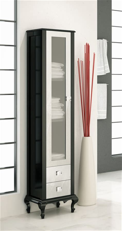 Macral Venezia 16 And 1 8 Inches Linen Cabinet Black Black Bathroom Storage Tower