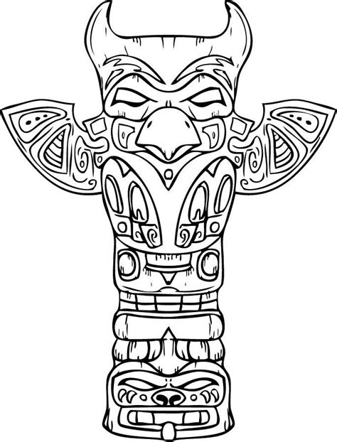 totem pole design template free printable totem pole coloring pages for