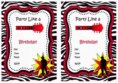 free printable rockstar birthday invitations rock star birthday invitations birthday printable