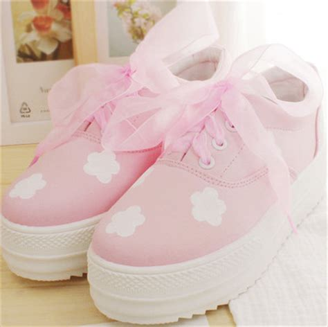 Kid Duvet Japanese Kawaii Clouds Hand Painted Canvas Platform Shoes