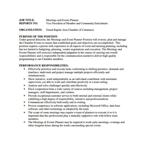 sle event planner resume 7 documents in pdf word