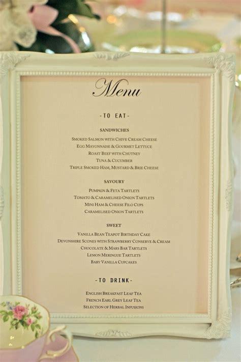 bridal shower tea menu 25 best ideas about tea menu on kitchen