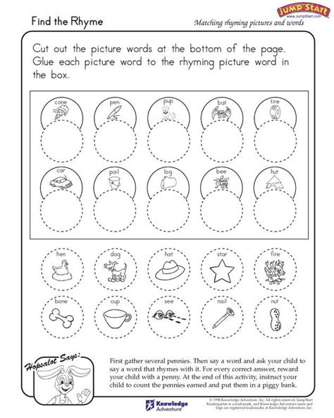 printable language arts games for kindergarten find the rhyme kindergarten language arts worksheets