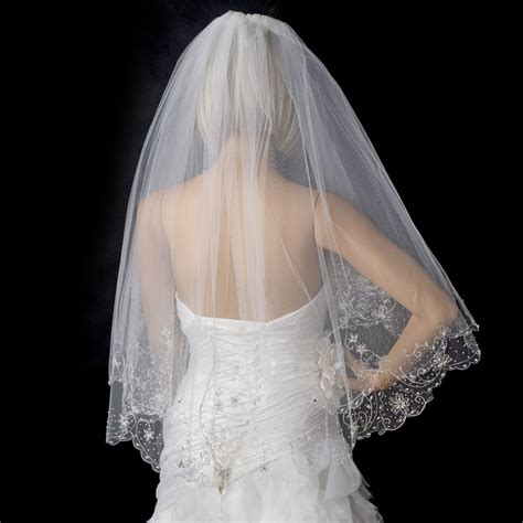 beaded veil 2 layer fingertip length beaded embroidered edge veil