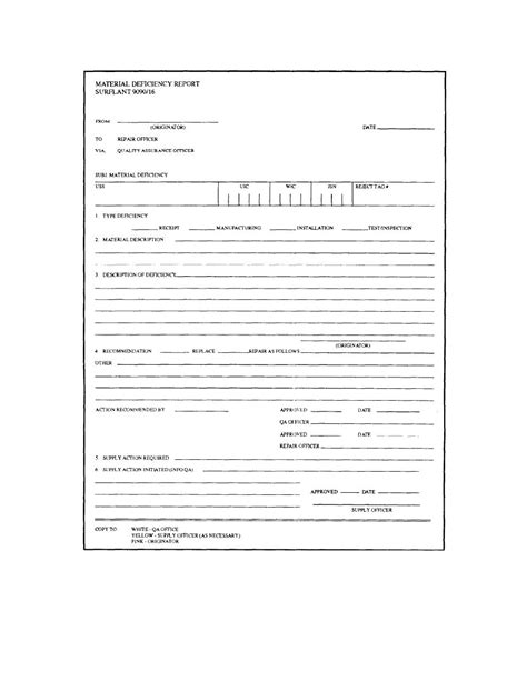 construction deficiency report template figure 2 11 qa form 16 material deficiency report