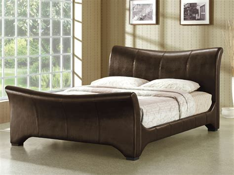 Time Living Wave Super King Size Brown Faux Leather Bed Frame King Size Faux Leather Bed Frame