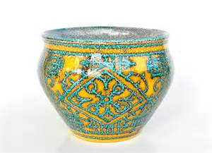 teal pottery planter yellow plant pot italian fratelli