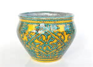 Ceramic Plant Pot Teal Pottery Planter Yellow Plant Pot Italian Fratelli