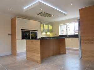 kitchen island extractor hoods custom veneer and alabaster gloss mix ashwell contracts ltd
