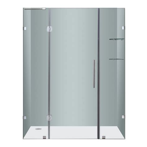 Frameless Glass Shower Door Hinges Aston Soleil 60 In X 75 In Completely Frameless Hinge Shower Door In Chrome With Glass Shelves