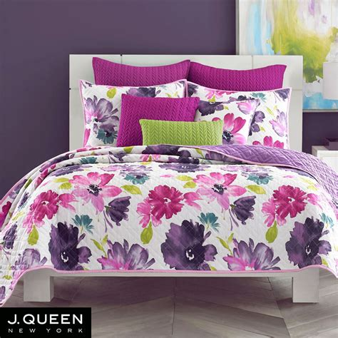 quilted bedding midori fuchsia floral quilted coverlet bedding from j by j