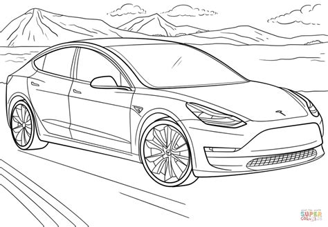 coloring paper tesla model 3 coloring page free printable coloring pages