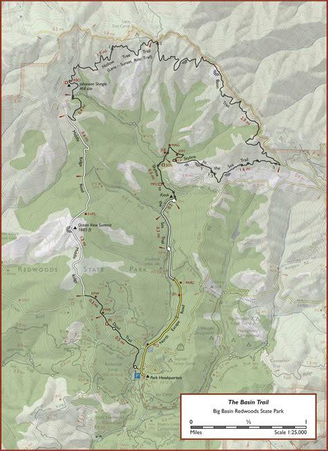big basin trail map the basin trail