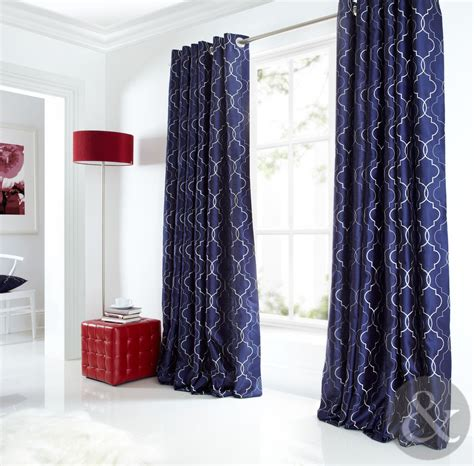 Blaue Gardinen by Sicily Curtains Luxury Faux Silk Navy Blue Silver