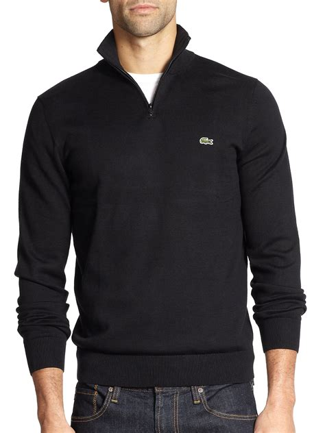 Hoodie Zipper Sweater Lacoste 1 lacoste half zip pullover sweater in black for lyst