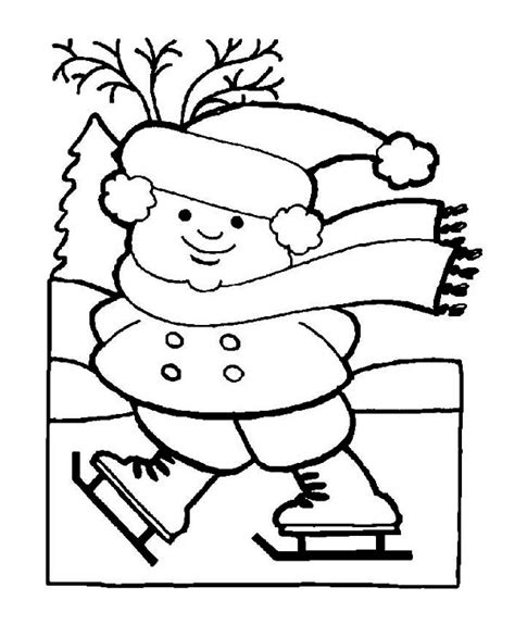 frozen winter coloring pages skates on frozen winter lake