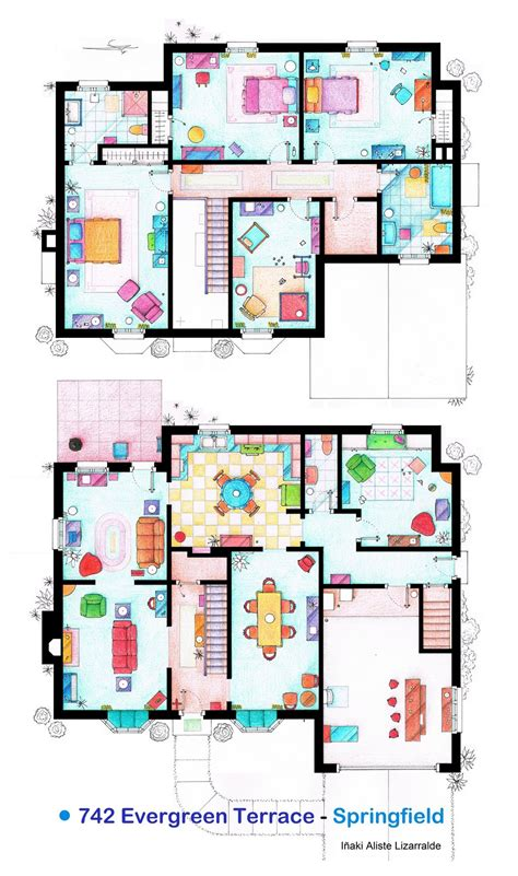 House Of Simpson Family Both Floorplans By Nikneuk On Blueprint Of Simpsons House
