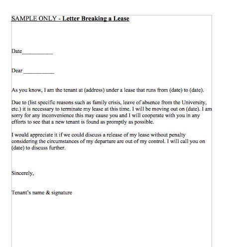 Exle Letter For Breaking Lease letter breaking a lease april 2016 interiors