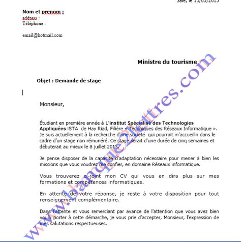 Lettre Demande De Stage Ofppt Exemple Lettre De Motivation Stage Ofppt Document