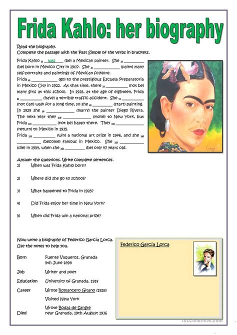 frida kahlo brief biography frida kahlo her biography worksheet free esl printable