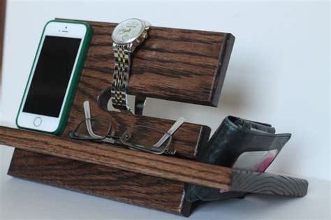 nightstand charger organizer large wallet model a night stand oak wood valet iphone