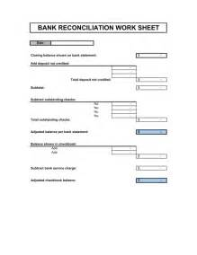 business bank reconciliation template bank reconciliation template sle form biztree