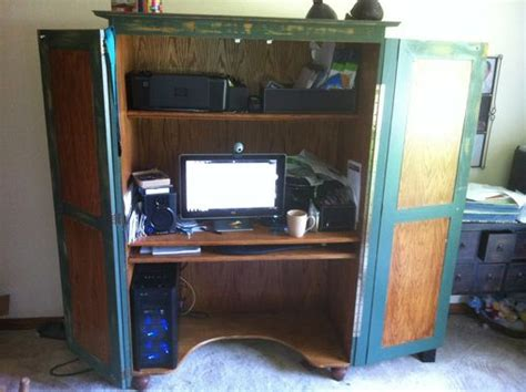 made rustic computer armoire by lone artisans