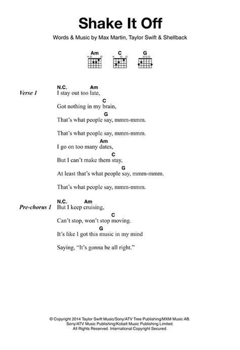 printable lyrics shake it off shake it off sheet music by taylor swift lyrics chords