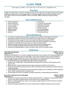 Digital Marketing Degree Florida by Digital Marketing Manager Resume Exle Chs Sports