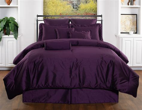 10pc royal purple solid color design faux silk comforter