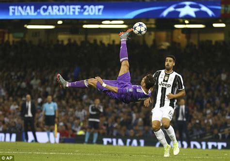 ronaldo juventus overhead goal cristiano ronaldo s shout black eyed peas and more at ucl daily mail
